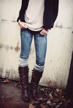 jean, sweater, fashion, tall boots, outfit, fall looks, riding boots, boot socks, leg warmers