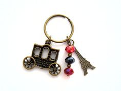Paris crystal keychain. Lovely for French teachers or any fashionable chic woman.    Keyring: Bronze tone standard size 25mm Beads: Red and black