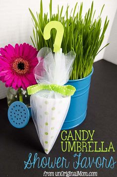 Candy Umbrella Shower Favors - perfect for a rain or umbrella themed baby shower or bridal shower! by unOriginal Mom