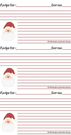Free printable recipe cards for Christmas http://www.grandmageorge.com/free/recipe/xmas01r.gif