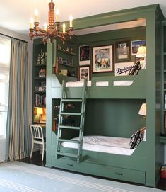Save space with these built-in bunks! twin, bunk beds, kid rooms