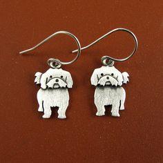 Tiny Shih Tzu earrings by StickManJewelry on Etsy, $37.00