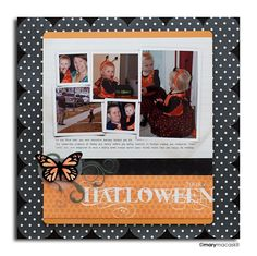 Halloween 2008 | Mary MacAskill #simple #scrapbook #layout #autumn #polka #dots #scallop
