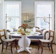Tom Scheerer, mural, love the modern table with the chairs