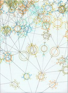 Generative drawing created using dice and colored pencil. #art #graph #paper #grid #circles #shapes #geometric
