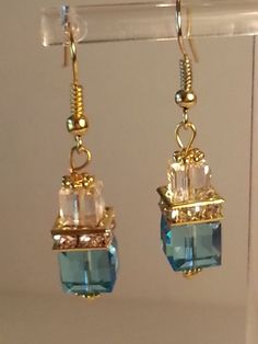 Gold Plated Swarovski 8mm Crystal Cube Drop by InfiniteWishesGifts, $25.00