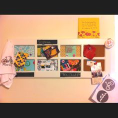 Old window inspiration board. Magnetic, cork boards, hooks with current projects hanging. Keeps me focused!