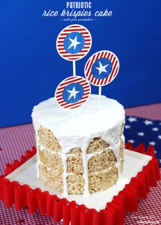 red white blue, rice krispies, patriot rice, party printables, 4th of july, krispi cake, blue party, red barns, parti