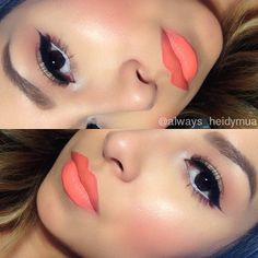 I love the lip color. orange lip liner from #NYX Mac sushi kiss mixed with sweat nectar from #milanicosmetics