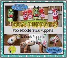 pool noodles, craft, diy puppet