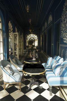 Upholstery/floor love...Bar Palladio Jaipur India designed by Marie-Anne Oudejans | Remodelista