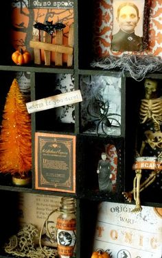 Spooky Halloween shadow box.  Love this!