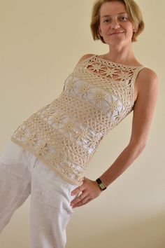 "Natural Cotton Crochet Top ""Flowers"""