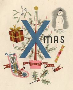 graphic design, xmas trees, vintage christmas, vintage illustrations, christmas art, vintage prints, child alphabet, children, grace gabler