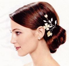Wedding Hair - low bun with flowers