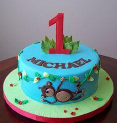 monkey themed 1st birthday cake