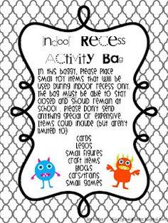 Indoor recess activity bag