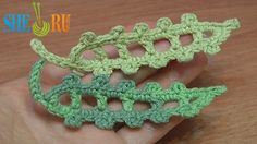 Crochet Leaf Long Picots Around Tutorial 23 http://sheruknitting.com/videos-about-knitting/crochet-leaf-lessons/item/251-how-to-crochet-leaf-with-picot.html See this crochet tutorial. you will learn how to crochet a little long leaf with chain spaces inside and double crochet stitches inside. The single crochet trim with picot stitches finishes the leaf. Do not forget the leafstalk made of chain stitches and slip stitches. It easy and fast to make. Try it! Thanks so much for being with us!