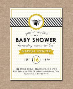 PRINTABLE BABY SHOWER Invitation - Baby Shower Bee Theme  via Etsy.