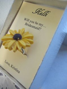 Ask Bridesmaids, bridal party, wedding party gifts. Sunflower ring. FREE personalized notecard giftbox. Other colours available.