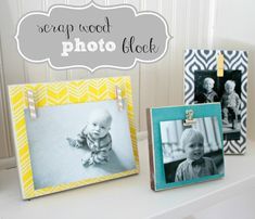 How cute are these?  Such great DIY gifts! Scrap Wood Photo Blocks by Katie (View from the Fridge) as seen on Juggling Act Mama