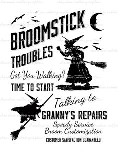 Halloween Witch Vintage Sign Broom Repair by chocolaterabbit