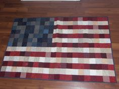 American Flag lap quilt, (wall hanging)