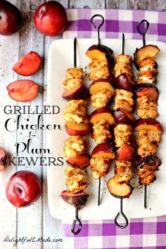 Grilled Chicken and Plum Skewers #ticklemytastebuds #apeekintomyparadise #recipe #grill