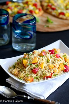 Couscous with Nectarines & Toasted Almonds...A quick & healthy side dish! | cookincanuck.com #recipe #vegan #vegetarian
