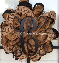 Burlap wreaths with Wood Vine Monogram Letters