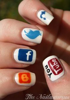 Social media nails! These are cute for next #WomenWednesday