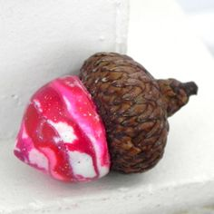 Pink Red and White Valentine Acorn Decorations  by LavaGifts, $12.00