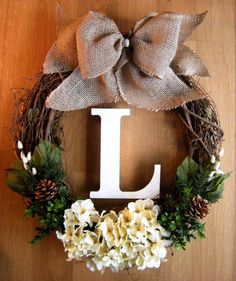 Fall Wreath with White Hydrangeas, Monogram Wreath, Fall Decoration, Grapevine Wreath, Initial Wreath, Outdoor Wreath, Burlap Wreath on Etsy, $56.00