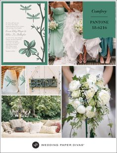 Pantone Comfrey, a muted, mossy jade, is the perfect green shade to use when playing up natural tones at your wedding. Whimsical touches, like the dragonfly motif in this invitation, will complement a fairytale forest ambiance.