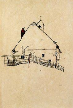line drawings, sketch, houses, charcoal drawings, egonschiel, art, egon schiel, farm hous, illustr