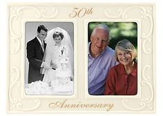 A very traditional gift but it's lovely that you can have both your wedding photo and also a 50th anniversary photo in the same frame.