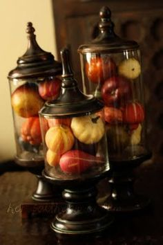Such pretty fall decor! gourd, holiday, fall displays, apothecary jars, season, pumpkin, decorating ideas, fall decorating, fall decorations