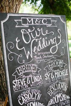 chalk sign for a wedding program
