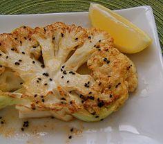 "Cauliflower ""steaks"" flavored with nigella seed."