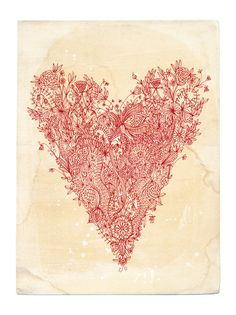 art inspir, draw, heart desir, pink heart, heart art, art prints, red heart, valentin, heart illustr