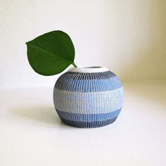 A stoneware vase with sweater-y stripes. #etsy #etsyfinds