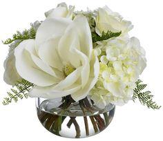 magnolia hydrangea and roses in a cute centerpiece babies breath, rose, magnolias, silk flowers, centerpiec, dream, blushes, white bouquets, hydrangea