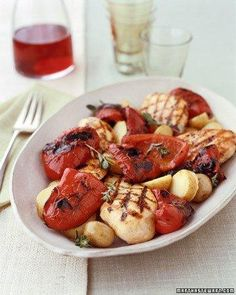 Herbed Chicken with Grilled Red Peppers Recipe