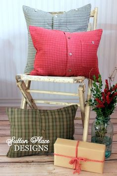 Pillows made from cozy shirts.  So easy to make     pics via Sutton Place Designs on Etsy