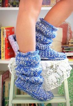 Crocheted Slouchy Boot Slippers!