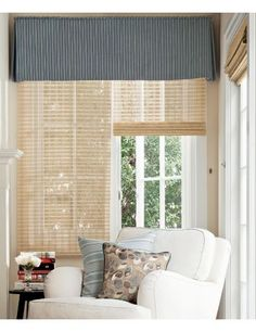 box pleat valance with bamboo blinds underneath