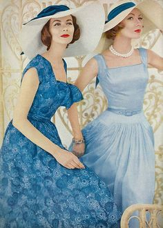 December Vogue 1956 full skirts, summer styles, summer dresses, 1950s, color, blue, fashion styles, lunch, hat
