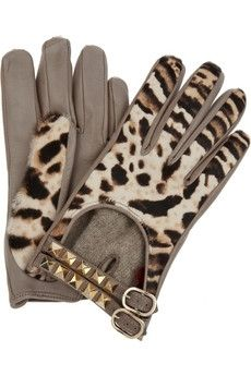 Valentino|Leather and calf hair gloves|NET-A-PORTER.COM - StyleSays