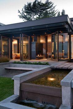 architect, modern house design, interior, water features, parks, lake, modern houses, modern homes, sliding doors