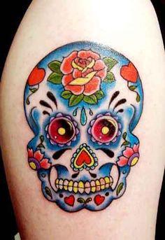 Mexican-style sugar skull tattoo